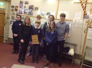 The Edingers holding their ' Highly Commended' ART Award - sponsored by the Sarah Beacham Trust.