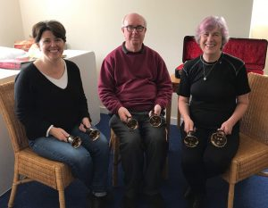 Here is Sue (right) with Christine Tankerton (a lovely American lady, based in Cambridge) and Handbell tutor John Cater, from Derbyshire. John is an ART Member.